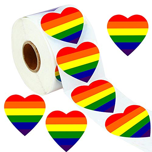 Gay Pride Stickers, Bestxun 500 Love Rainbow Color Ribbon Stickers, 1.6 x 1.6 Inches Heart Shaped Roll Tape