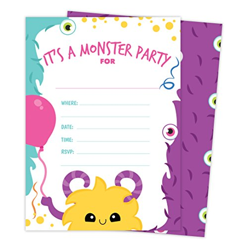 Monster Style 2 Happy Birthday Invitations Invite Cards (25 Count) With Envelopes & Seal Stickers Vinyl Boys Girls Kids Party