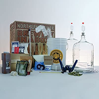 Northern Brewer Deluxe Home Brewing Starter Kit Glass Carboys w/ Caribou Slobber Brown Ale Beer Recipe Kit