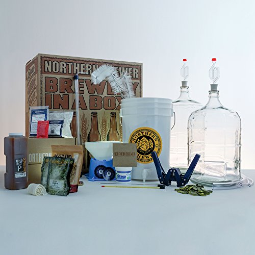 Glass Starter Kit (Deluxe Home Brewing Equipment Starter Kit - Glass Carboys - with 5 Gallon Chinook IPA Beer Recipe Kit)
