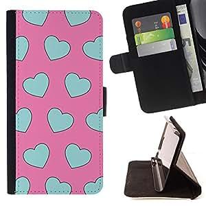 - teal blue pink pattern heart love - - Prima caja de la PU billetera de cuero con ranuras para tarjetas, efectivo desmontable correa para l Funny HouseFOR Samsung Galaxy S5 V SM-G900