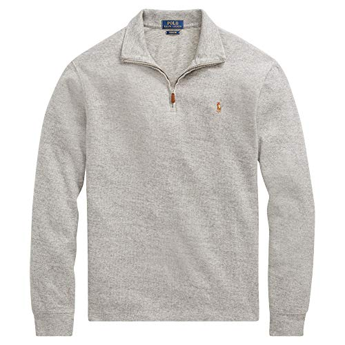 Ralph Lauren Mens Half Zip French Rib Cotton Sweater (XX-Large, DarkVinSigPony)