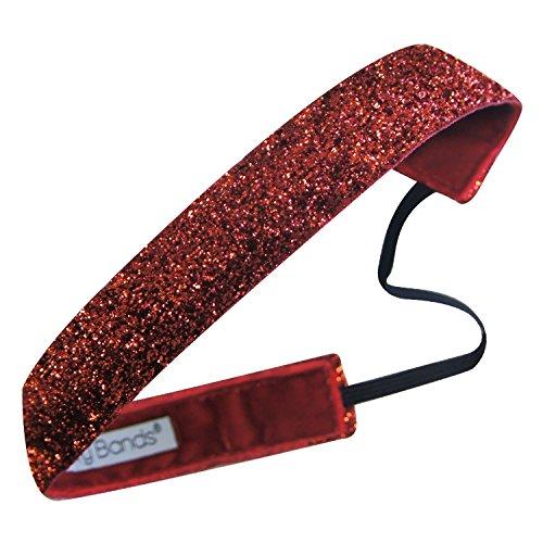 (Sweaty Bands Womens Girls Headband - Non-Slip Velvet-Lined Sparkle Hairband - Viva Diva Red 1-Inch)