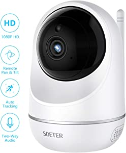 SDETER Wifi Camera, Wireless 1080P Home Security Surveillance IP Camera for Baby/Elder/ Pet/Nanny Monitor, Auto-Cruise, Pan/Tilt, Two-Way Audio & Night Vision