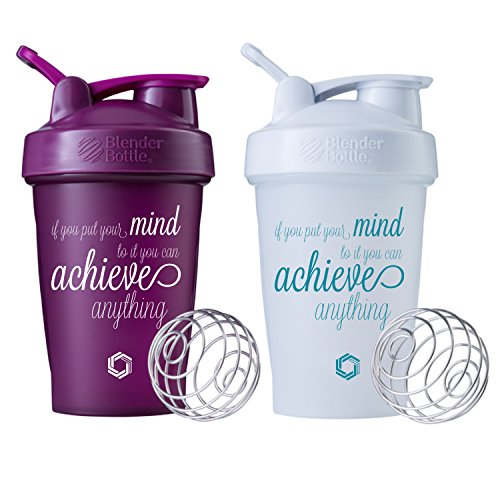 Achieve Anything Classic Blender Bottle Shaker Cup 2 pack, 20oz Protein Shaker (Plum and White 2pk)