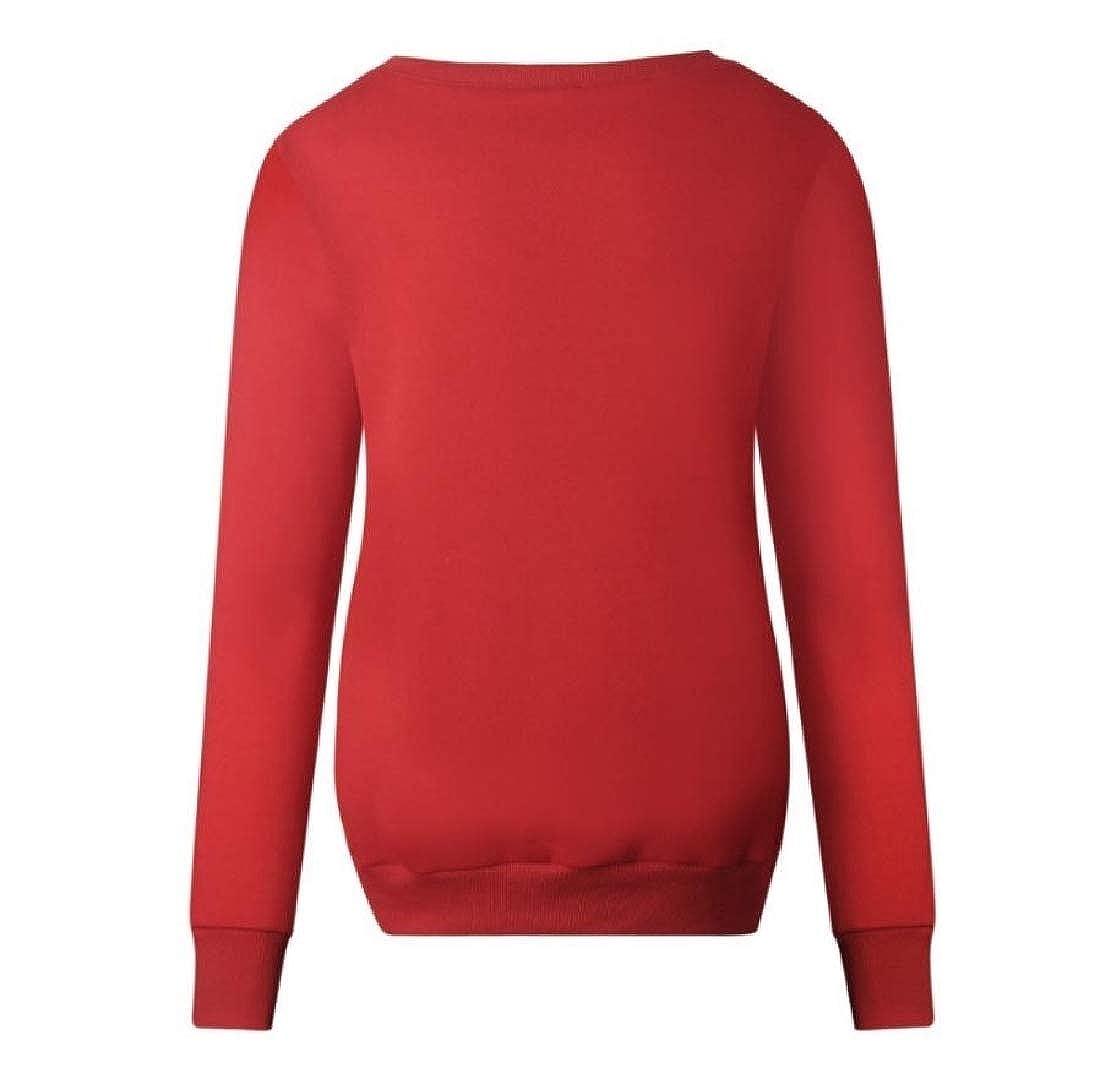 cheelot Women Merry Christmas Sweatshirt Reindeer Comfort Outwear Tops