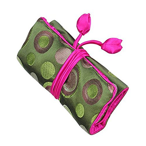 Wei Long Jewelry Roll, Travel Jewelry Roll Bag,Silk Embroidery Brocade Jewelry Organizer Case with Tie Close, (Polka Dot, Green)