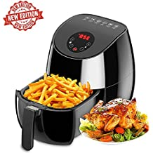 1350W Air fryer, Healthy Smokeless Low-Fat Non-stick Multi-Cooker Oilless Cooker, 3.4QT Capacity W/Timer and Temperature Control and Detachable Basket Handles (Black)