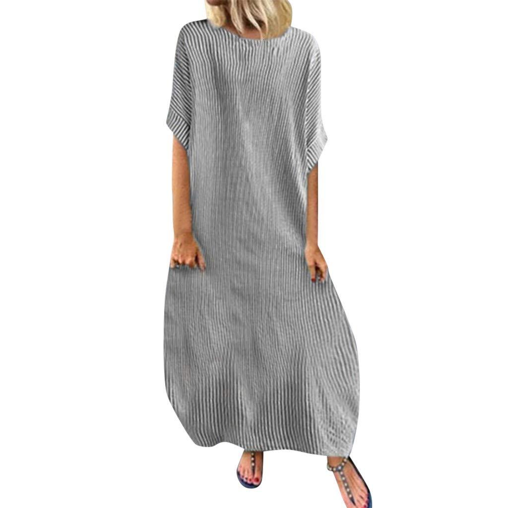 Women Striped Maxi Dress, Boho O-Neck Short Sleeve Tunic Long Dresses Casual Loose Beach Sundress (S, Gray)