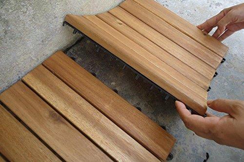 Struttura in legno massiccio di acacia piastrelle composta da