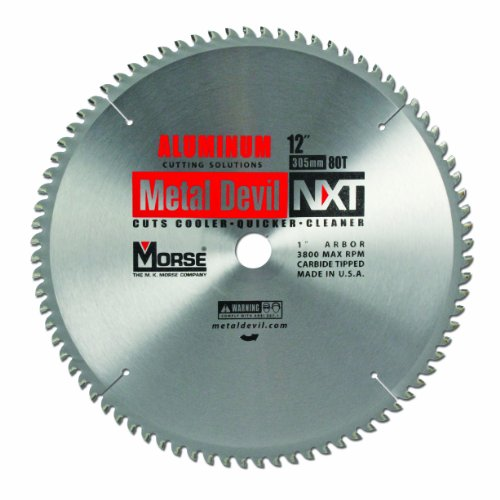 Blade Diameter - MK Morse CSM1280NAC Metal Devil Circular Saw Blade, Aluminum Application, 12-Inch Diameter, 70 TPI, 1-Inch Arbor