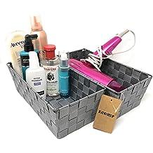 2-Pack Grey Woven Strap Baskets Storage Bins, CD DVD Case Holder, Bathroom Organizer, Mail Organizer, Makeup Organizer