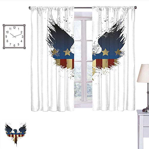 Jinguizi Eagle Kitchen Curtain The American Flag on Silhouette of National Bird of The Country Majestic Animal Drapes Panels Blue Red Sepia W55 x L39 ()