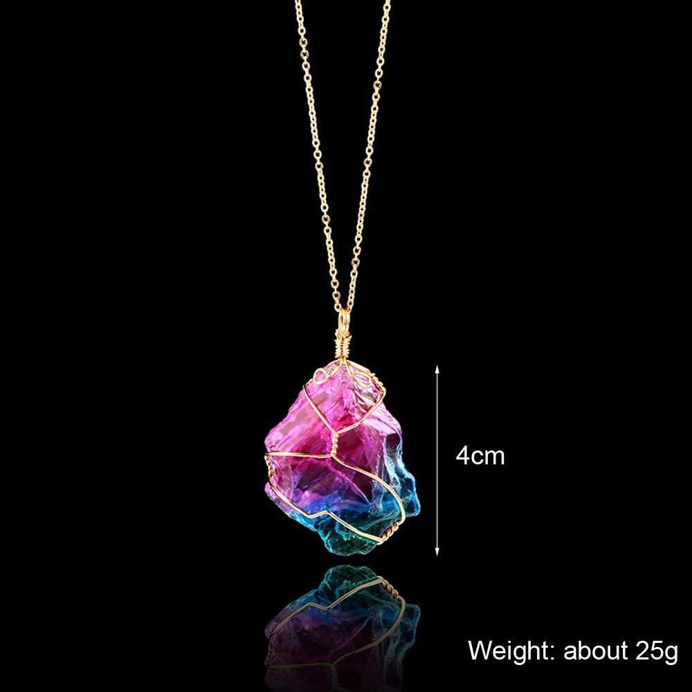 Kristall nat/ürlich Schmuck Halskette mit Anh/änger unregelm/ä/ßig Golddraht handgefertigt
