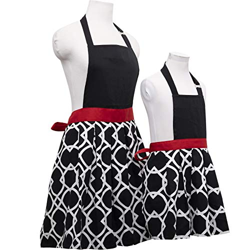 Basicome Matching Kitchen Apron Set for Mother and Daughter Clothes, Style Joyce, Black Ink ()