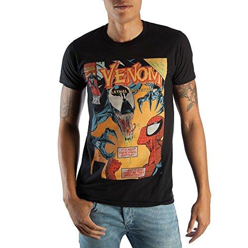Classic Venom Marvel Comic Book Cover Artwork Men's Black Graphic Print Boxed Cotton T-Shirt Small (Artwork Venom)
