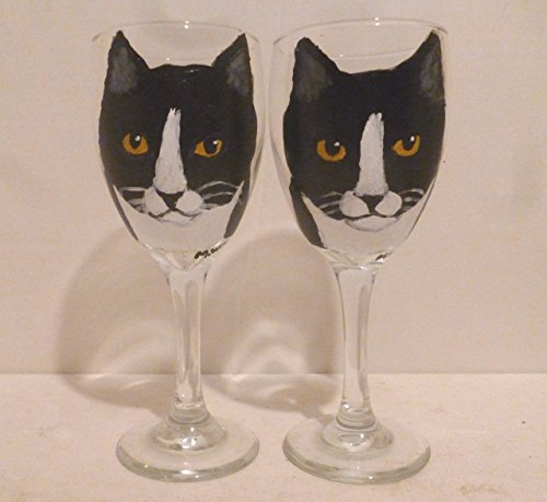 Cat Wine Glass Hand Painted
