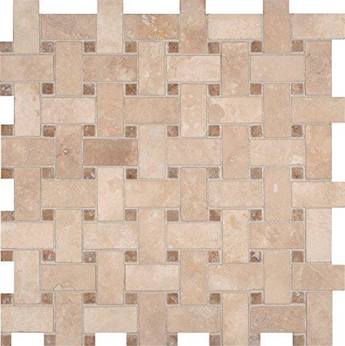 Basketweave Tile Pattern (M S International Durango/Caramel Basketweave Pattern 12 In. X 10 mm Travertine Mesh-Mounted Mosaic Tile, (10 sq. ft., 10 pieces per case))