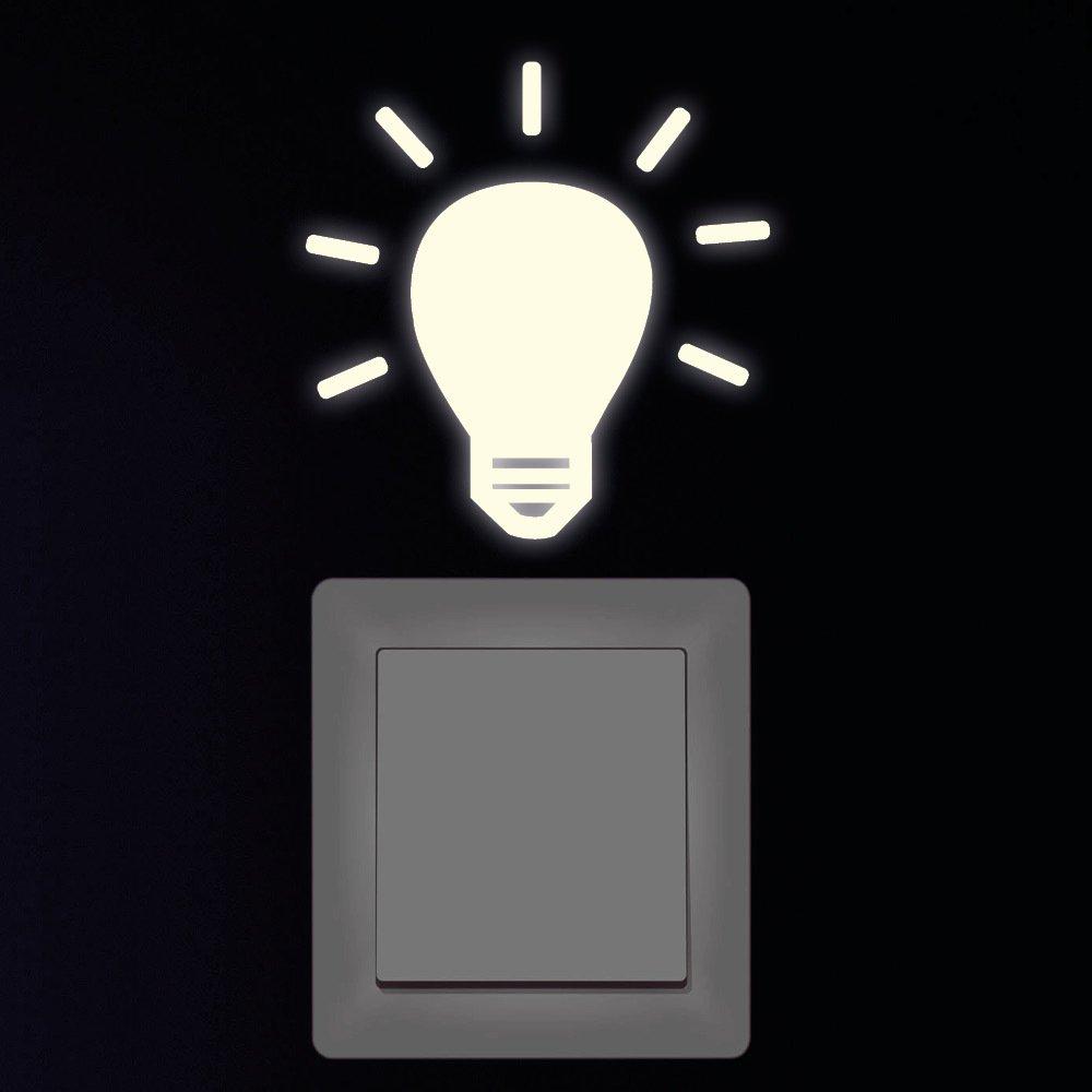 """Wandtattoo Loft """"Fluoreszierende Glühbirne für Lichtschalter"""" Leuchtaufkleber / Lichtschalter / Leuchtet in der Nacht Wandtattoo-Loft.de"""