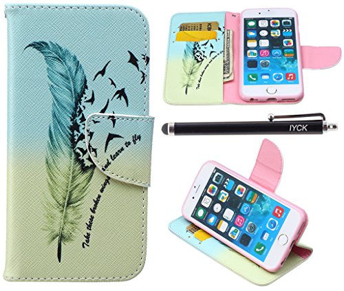 iPhone 6S Case, iPhone 6 Case Wallet, iYCK Premium PU Leather Flip Folio Carrying Magnetic Closure Protective Shell Wallet Case Cover for iPhone 6 / 6S (4.7) with Kickstand Stand - Feather Bird