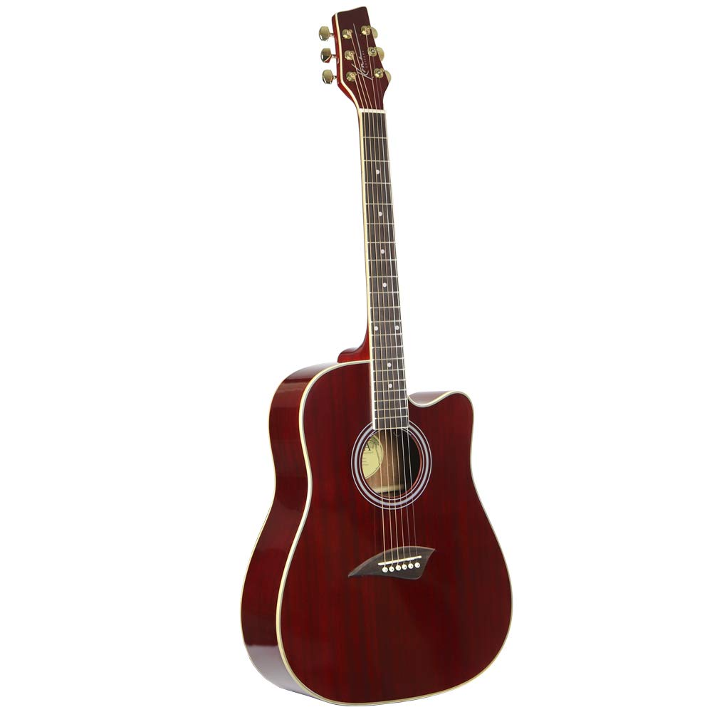 Kona Guitars K1TRD Acoustic Dreadnought Cutaway Guitar in Transparent Red Finish