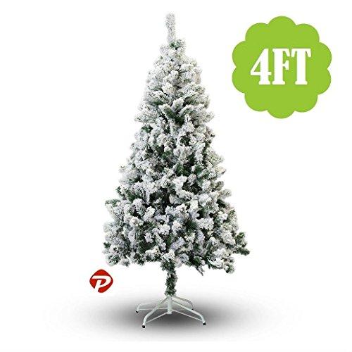 8' Styrofoam Ball (2-9ft WHITE SNOW FLOCKED PVC Artificial Christmas Tree Unlit Multiple Sizes SML (4ft))