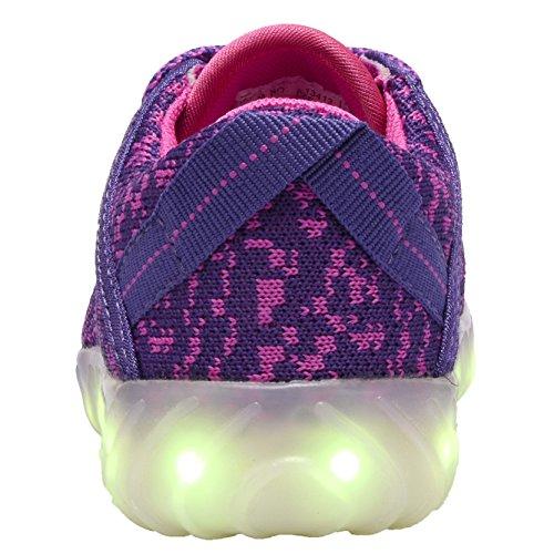 COODO Männer Frauen Kinder LED Schuhe 7-Color-Lights USB Lade leuchten Sneakers Purpur Rosa