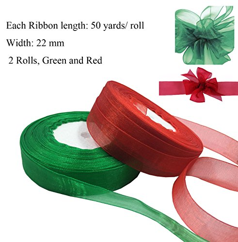 Organza Ribbon Wedding Decor - Levylisa Organza Ribbon, Bulk Ribbon,Wholesale,Bulk Buy Ribbon,Wedding Decor, Christmas Ribbon, Giftwrap, Red ,Green Organza Ribbon,Organza Ribbon Destash (Red and Green)