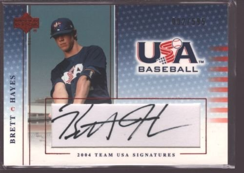 BRETT HAYES 2004-05 2005 UD USA BASEBALL ROOKIE AUTOGRAPH AUTO RC /595 - 2005 Usa Baseball