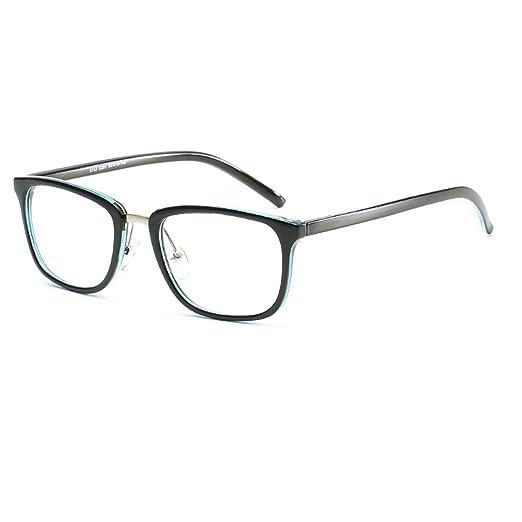 2fdce9adc4 Amazon.com  D.King Unisex Vintage Oversized Horn Rimmed Eyeglasses Clear  Lens Non Prescription Eyeglasses Blue  Clothing