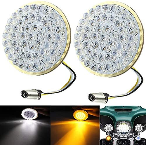 MZS 2 Amber 1156 Rear Turn Signal LED Bulb w//2835 Chips Bullet Style All-in-One Light Kit Compatible Motorcycles Harley Davidson