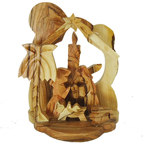 Zuluf Olive Wood Small Candle Nativity Hand Made