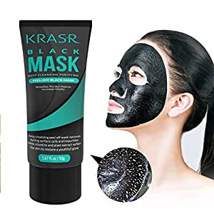 Blackhead Remover Mask, Black Mask, Peel Off Mask, Charcoal Mask, Blackhead Peel Off Mask 50g (1.67 Oz) By Krasr