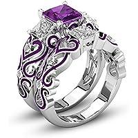 PR Jewelry 925 Silver Antique Three-stone Bridal Set With Purple Cutout Design Wedding Band (10)