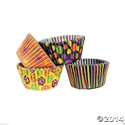 100 HALLOWEEN Party CUPCAKE Paper Baking Liners CUPS ICONIC HALLOWEEN DESIGNS Fun Creepy Spooky