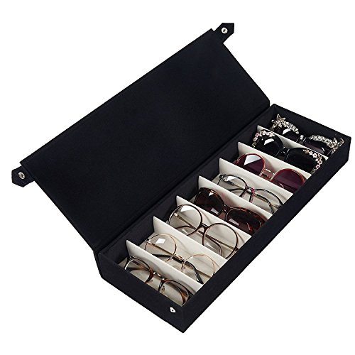 Amrka 8 Slot Eyeglass Sunglasses Glasses Storage Display Grid Stand Case Box Holder (Black) by Amrka