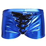 CHICTRY Mens Wet Look Drawstring Boxer Briefs Swimwear Bikini Trunks Blue X-Large(Waist:34.0-46.0''/86-116cm)