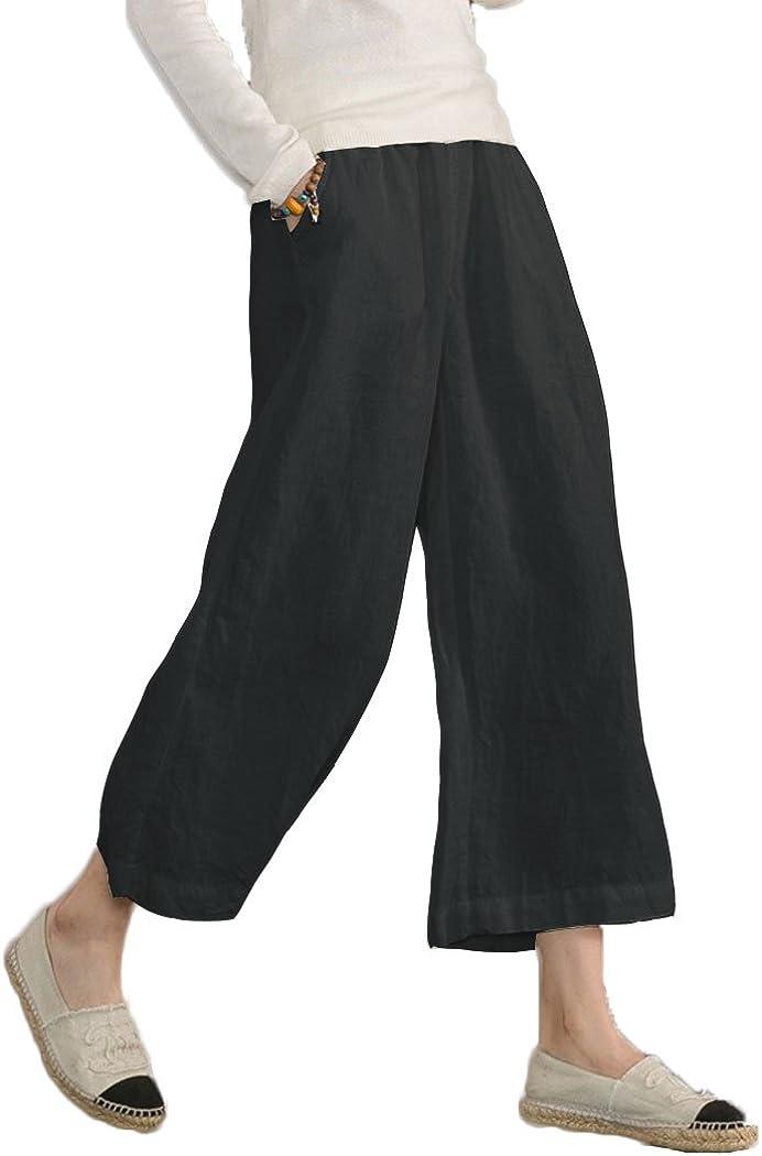 ECUPPER 여성 캐주얼 느슨한 탄성 허리 면 바지 크롭 와이드 레그 팬츠