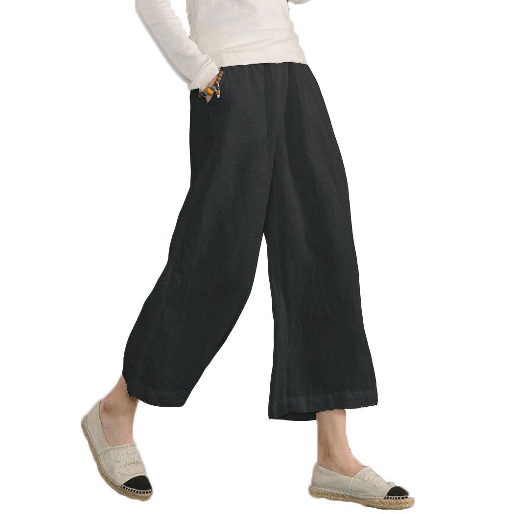 Ecupper Womens Casual Loose Plus Size Elastic Waist Cotton Trouser Cropped Wide Leg Pants Black 20W-22W