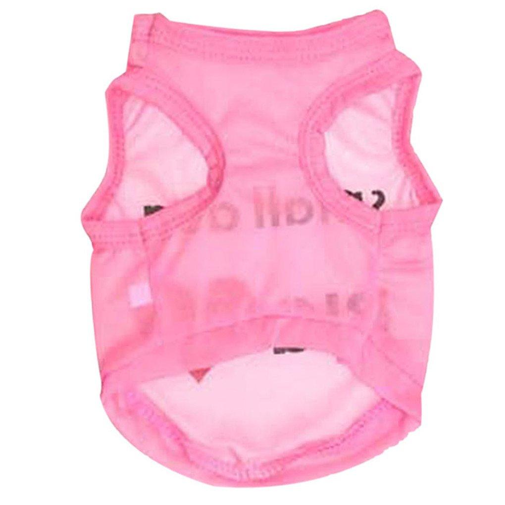 haoricu Pet Clothes, Summer Cool Dog Shirt Pet Clothing Pet Costume Small Pet Dog Cat Apparel T shirt (S, Pink) by haoricu (Image #2)