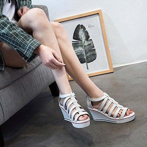Padgene Dames Sneaker Hoge Hakken Mode Canvas Schoenen Hoge Pump Lace Up Sleehakken Rits Zijwielen Wit 4