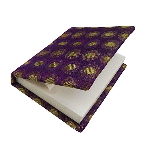 "Antique Style Trinket Diary Handmade Brocade Weaving Fabric Purple Notepad Travel Vanity Table Topper Gift Item 4"" x 3"""