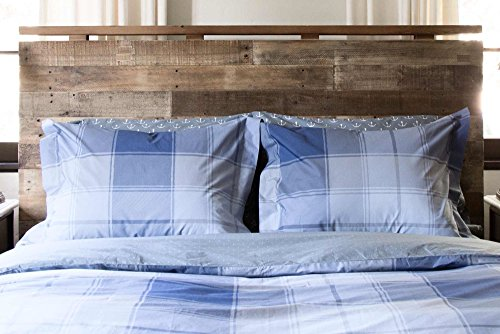 Thread Experiment Madras Plaid Duvet Cover Set for Men (Full / Queen, Pale Blue / Charcoal / Grey)