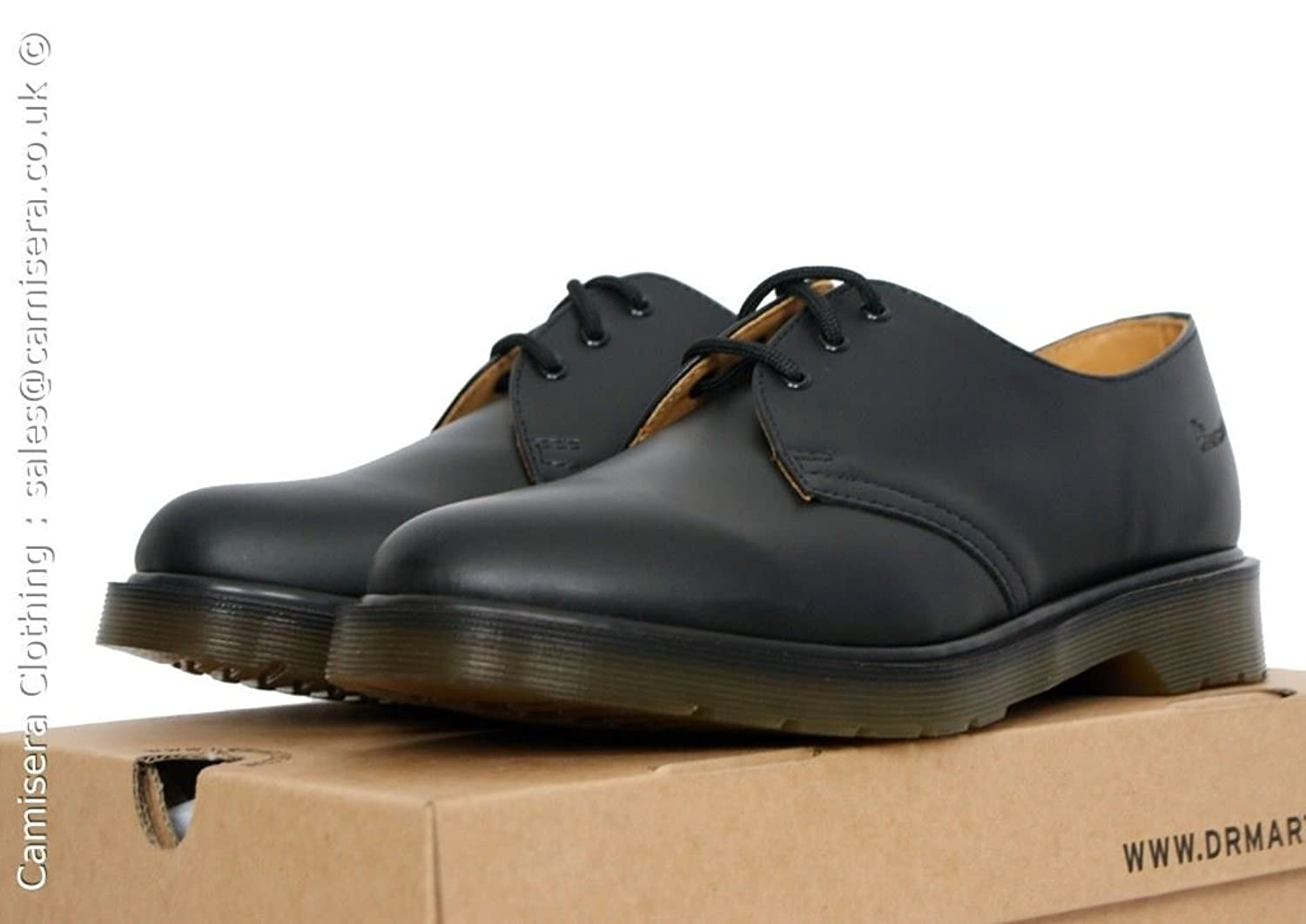 Dr Martens 1461 PW Plain Welt Black Smooth Leather 3 Eyelet Air Wair Shoes:  Amazon.co.uk: Shoes & Bags