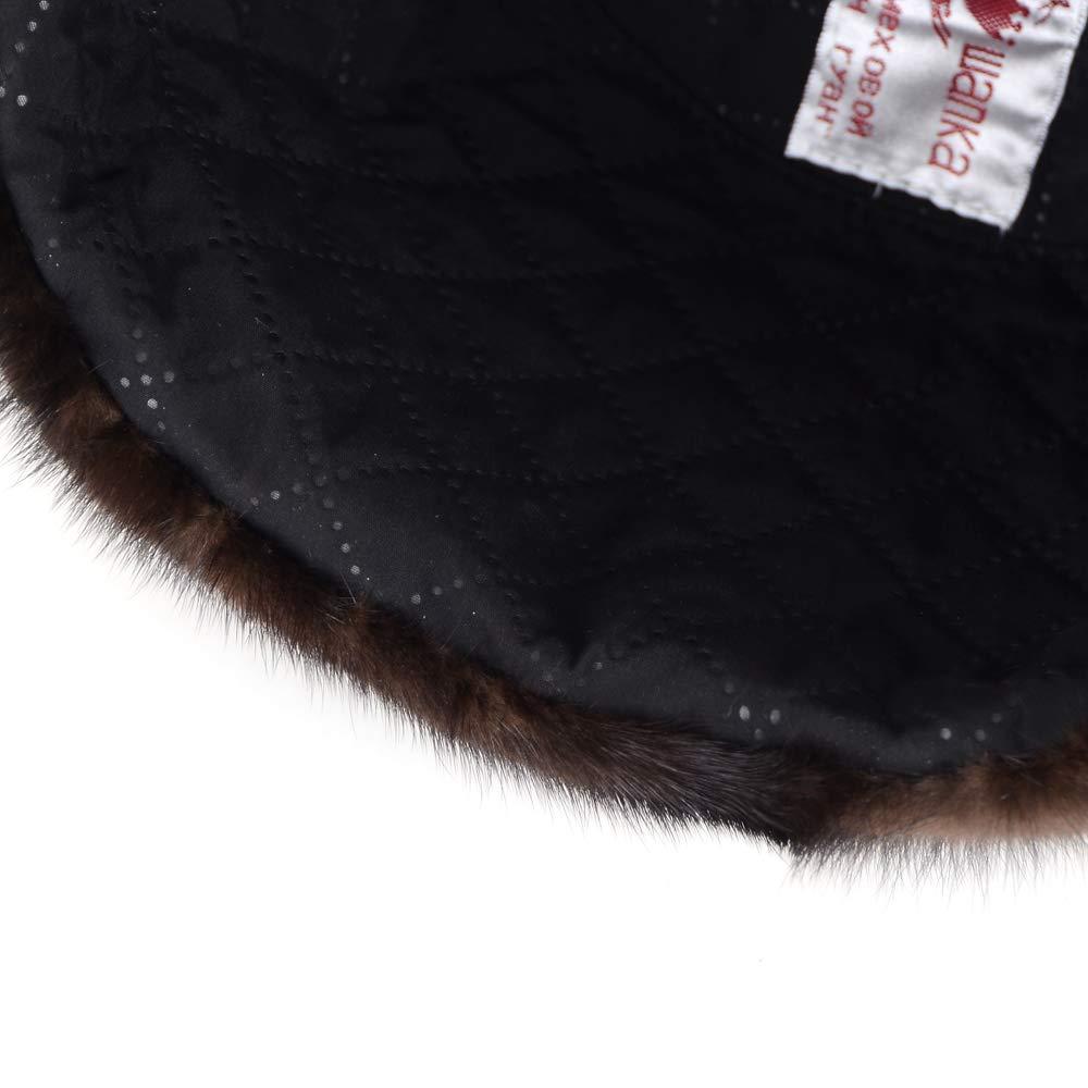 MH Bailment Mink Fur Hat Men Winter Warm Fur Hat Headwear Authentic Mens Formal Solid Fur Hat Beanies