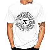 Mijaution Men's Print Digital T-Shirt Fashion Loose Short Sleeve Sports Elastic Top Round Neck T-Shirt (White,M)