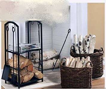 Amazon.com: Fireplace Wood and Tool Storage Rack - Black Iron ...