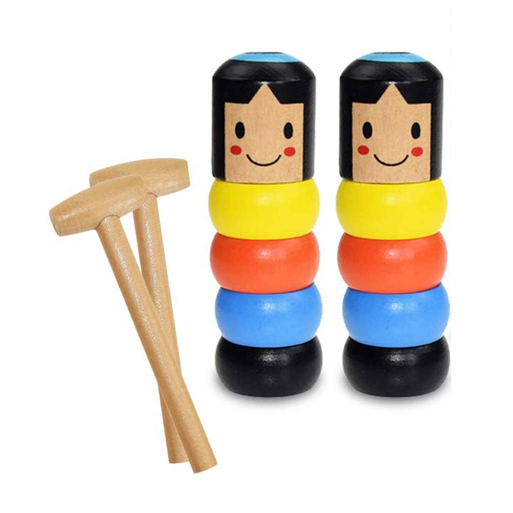 OupsTech Immortal Daruma Toy 2 Pack Unbreakable Wooden Man Magic Toy, Stubborn Man Toy, Magic Tricks Funny Immortal Daruma, Magic Tricks Funny Toy Children Toys for Halloween Birthday Christmas Party by OupsTech