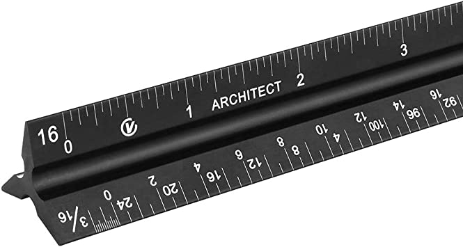 12 Inches Engineers and Students Triangular Engineering Scale Etched Aluminum Ruler for Architects