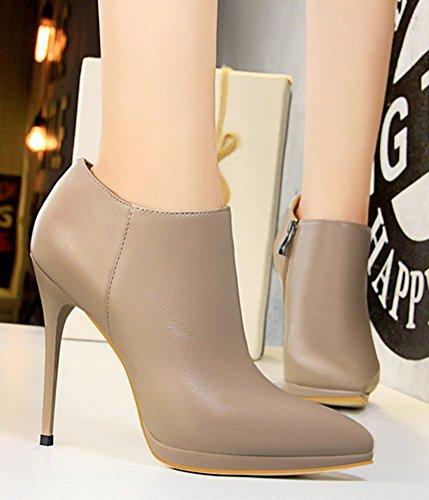 Aisun Mujeres Sexy Nightclub Elegante Punta Estrecha Interior Zip Up High Stiletto Heel High Top Bombas Zapatos Con Cremallera Khaki